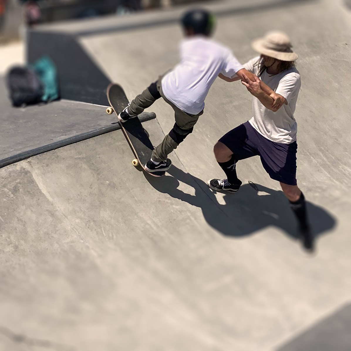 Mit dem Nachwuchskader von Snowboard Bayern im Skatepark Freiham, Juni 2021